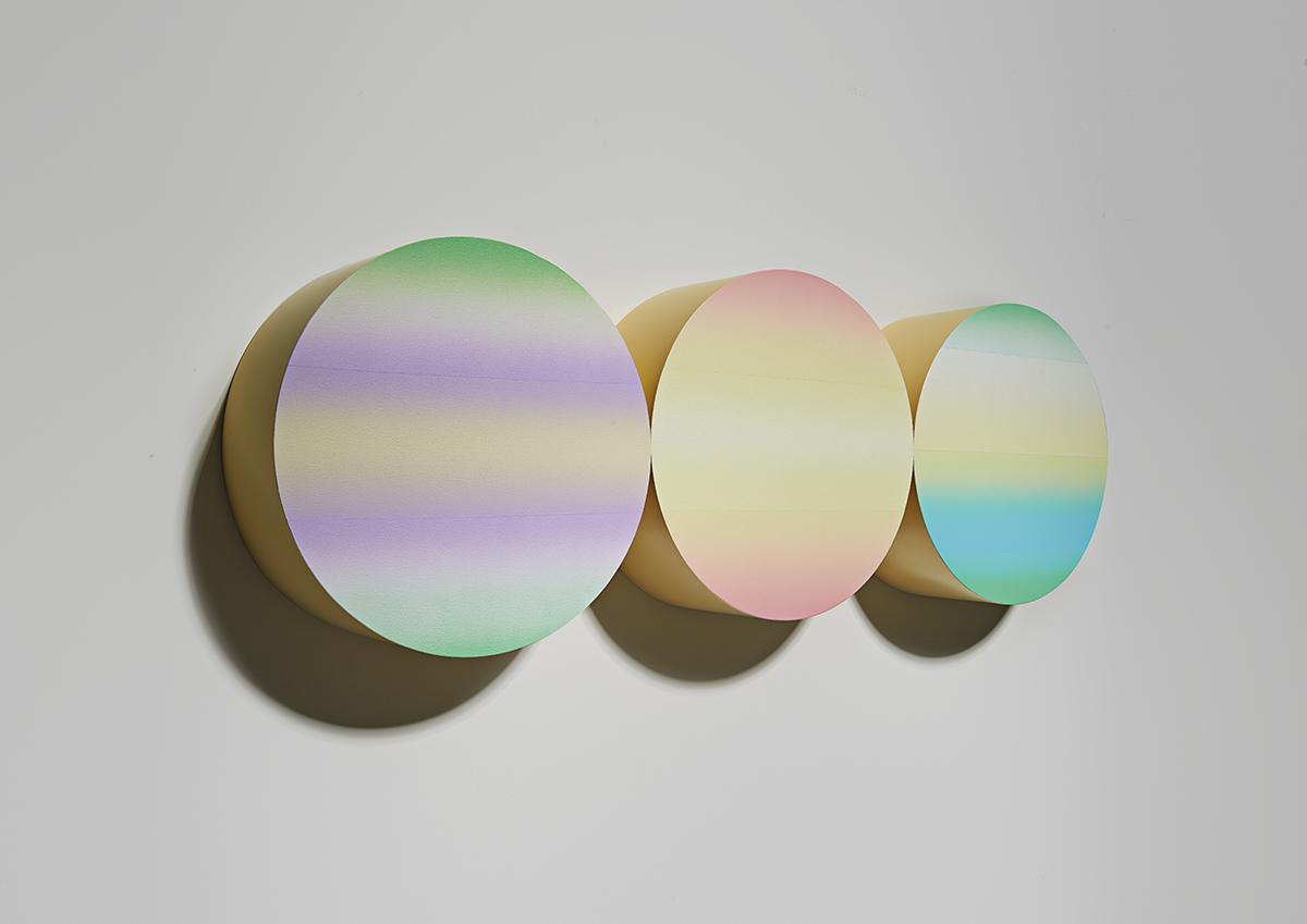 Light monad(R) 7-1 2015 40(diameter)x15cm(wHD)x3 mixed media.jpg