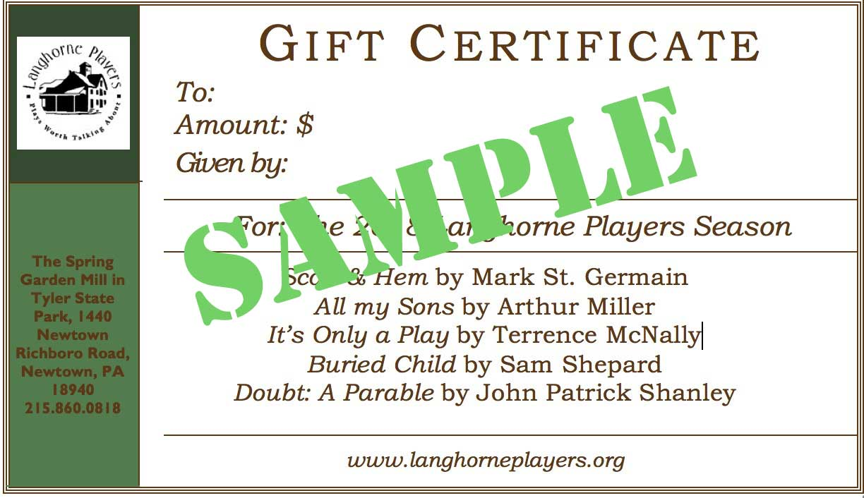 Sample Langhorne Players gift certificate to be used for any performance.