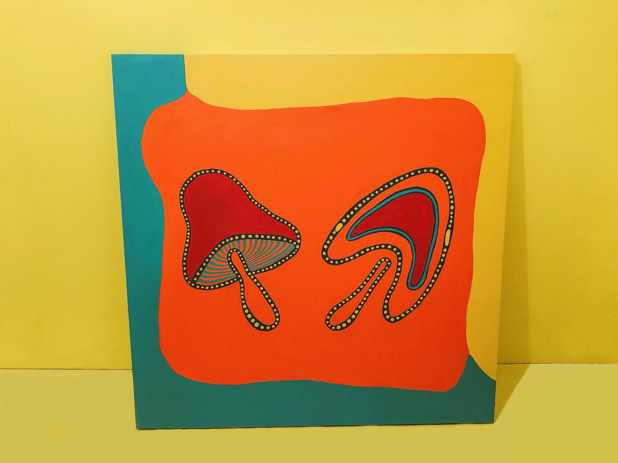 "Shroom Party III - Acrylics on Wood Panels - 48 x 52 "" - January 2019"