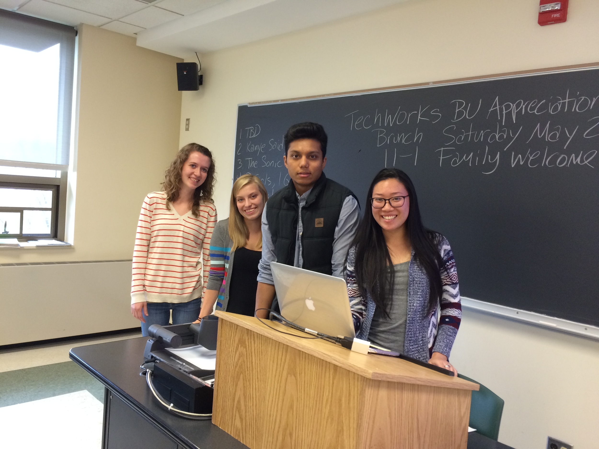 Authors of this Aural Postcard Presenting their Research (L-R) Libby Norton, Hailey Gonzalez, Nazrul Chowdhury, and Carol Huang