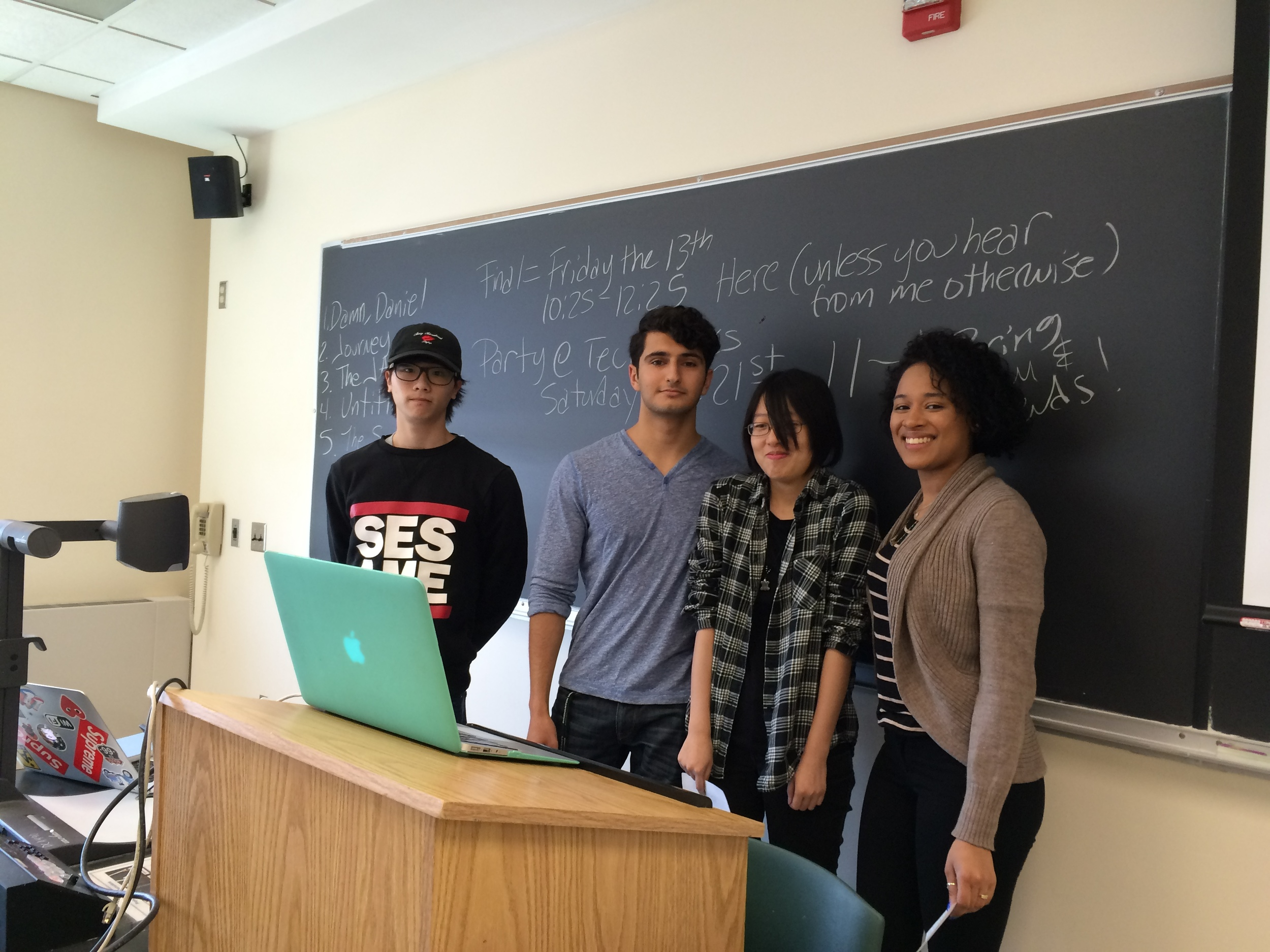 Designers of this Aural Postcard Presenting on their Research (L-R): Lucas You, Samuel Abaev, Kathy He, and Rosemary Espinal