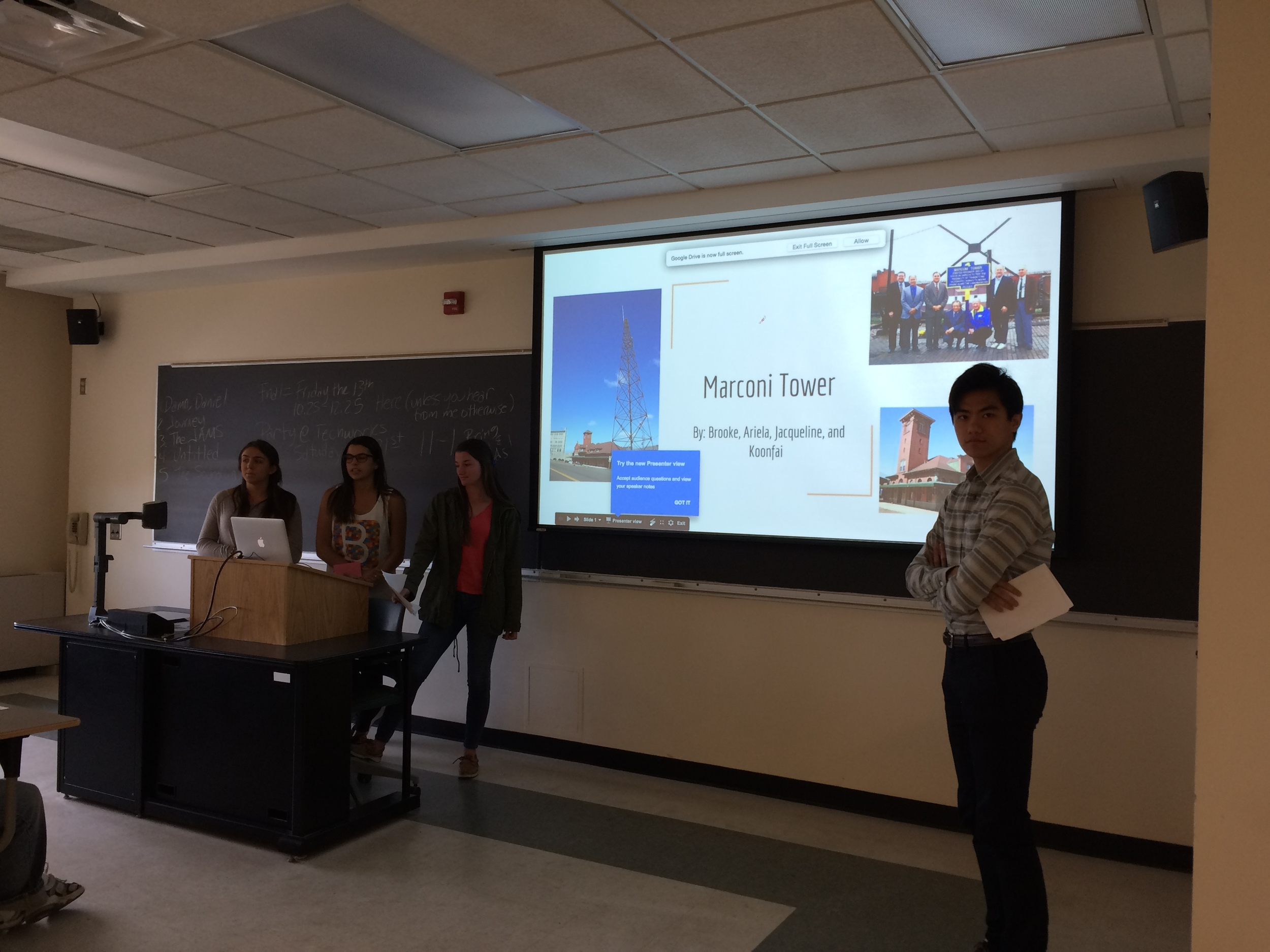 The Marconi Tower Group Sharing Their Research (l-r): Jacqueline Kennedy, Ariela Handler, Brooke Poznak, and Koonfai Xie