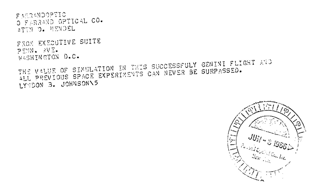 1966 White House telegram congratulating success of simulator & it's VISual System, developed by GP-Link, Bingnamton, and subcontractor Farrand Optical, Bronx