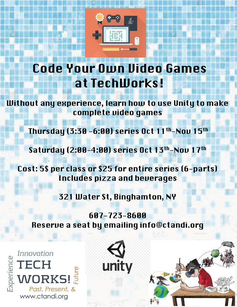 Fall 2018 Code Your Own Video Games flyer unity logo.png