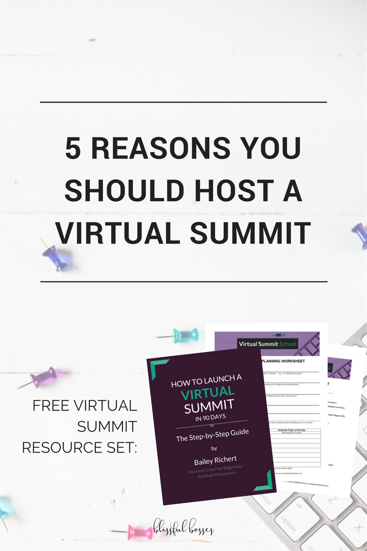 5 Reasons You Should Host A Virtual Summit. Grow your online business fast! Click through to learn how and to get your free virtual summit resource set that includes checklists, a step-by-step guide, and even planning sheets!