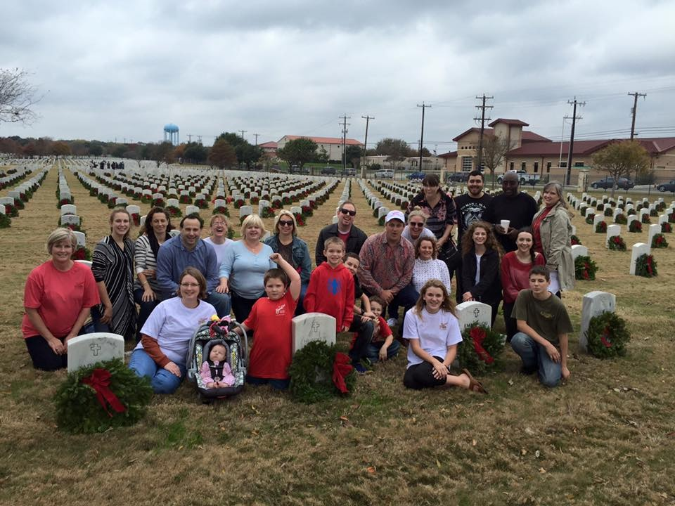 Randy Stokes, owner of the Barn Door Restaurant supports the wreath laying efforts at Fort Sam Houston. Photo Credit: Terry Reynolds