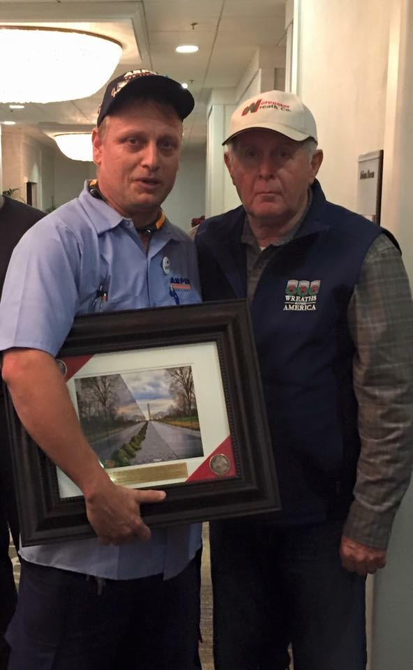 """Professional mover Steven Meyer (left) with Wreaths Across America's Founder, Morrill Worcester after receiving the """"Greatest Impact"""" honor from the organization in 2015."""