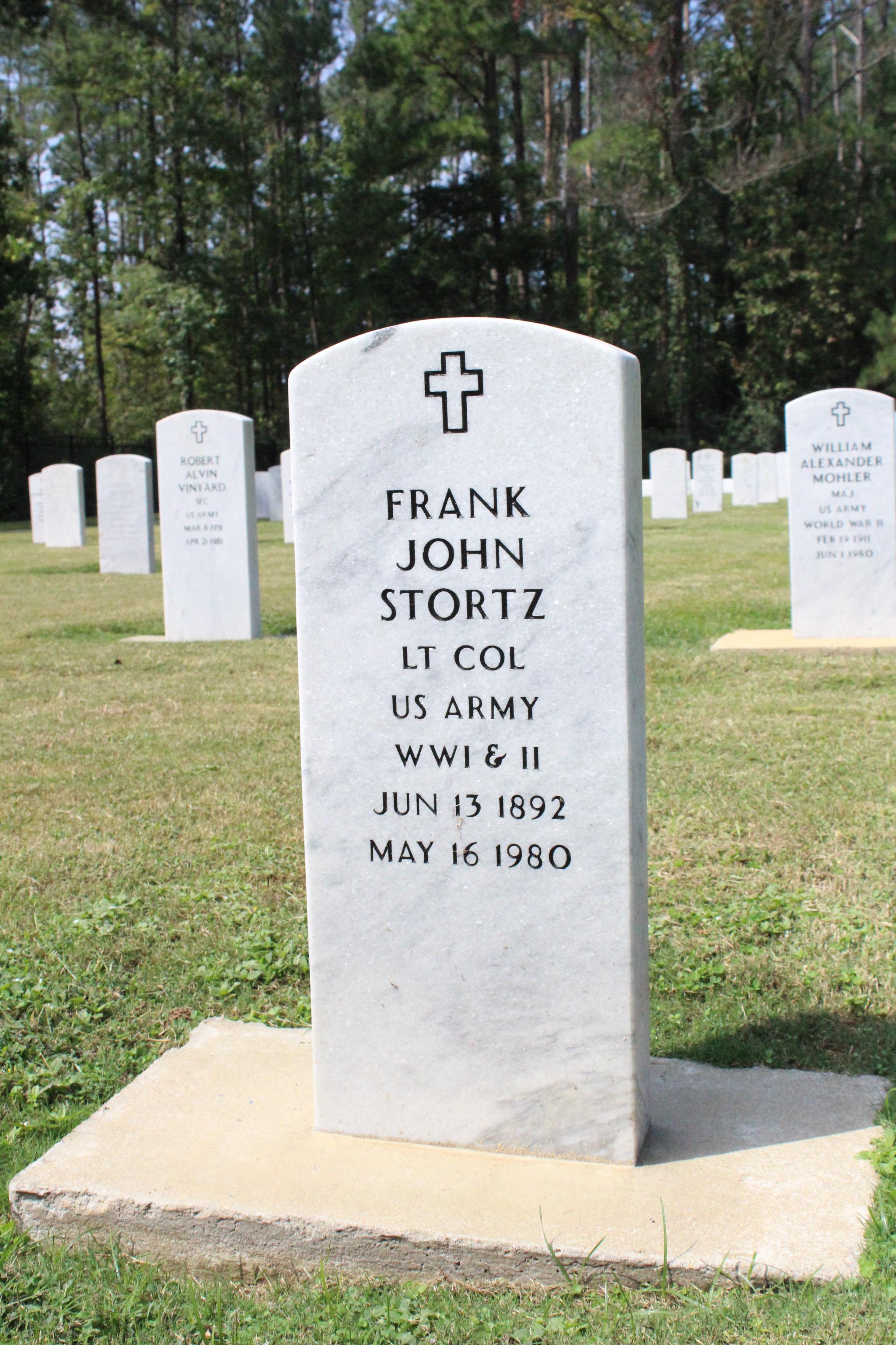Fort McClellan Cemetery Stortz Headstone.JPG