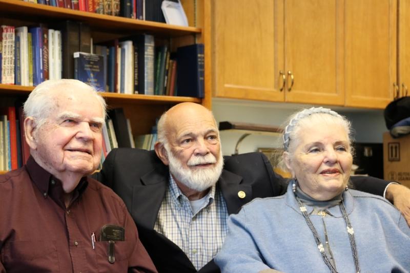 "2016. WW II Liberator Thurman Pace, Jr. (left), WAA Board Member David ""Mel"" Russen and Holocaust Survivor Luna Kaufman"