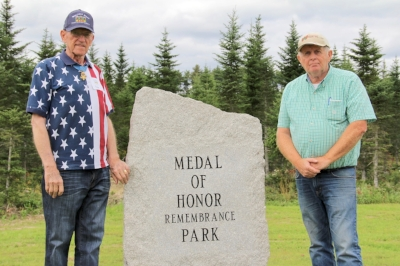 Roger Donlon (left) and WAA Founder Morrill Worcester (right) on tip land for a Stem-to-Stone tree grove dedication in Maine. Summer, 2017.