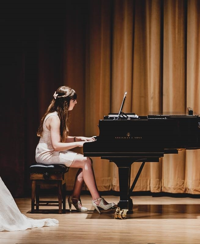 Playing the piano at a wedding at the Barber Institute of Fine Arts, Birmingham, 2014