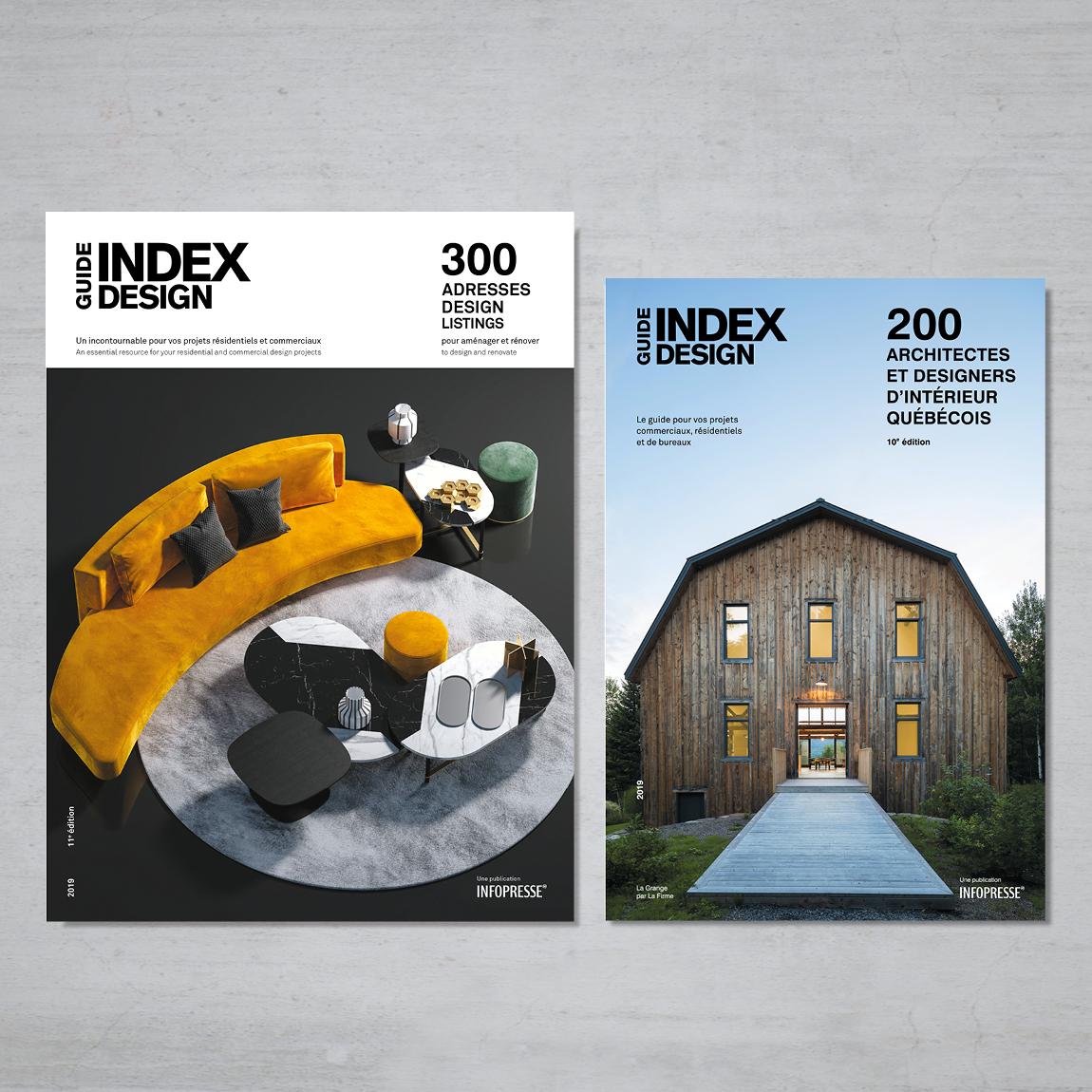 DUO - GUIDE 300 ADRESSES DESIGN & GUIDE 200 ARCHITECTES ET DESIGNERS D'INTÉRIEUR QUÉBÉCOIS  $29.95  Dans ce duo, vous retrouverez la 10e édition du Guide – 200 architectes et designers d'intérieur québécois et la 11e édition du Guide – 300 adresses design pour aménager et rénover. Ainsi, vous avez en main deux références incontournables pour vous inspirer dans vos projets. Vous découvrirez les meilleures adresses au Québec sans effort de recherche.