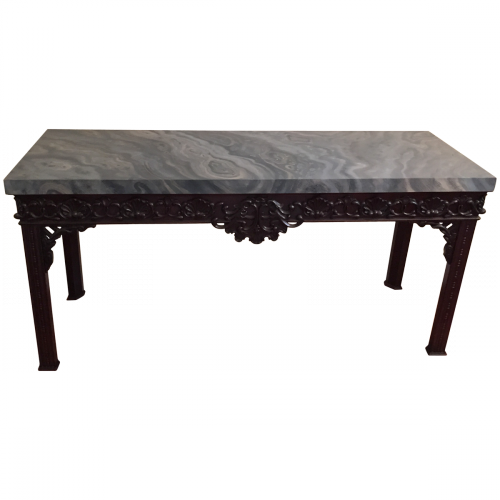 Antique English Console with Faux Marbled Top