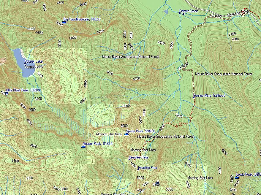 Reach Vesper Peak from Sunrise Mine trailhead, through Headlee Pass
