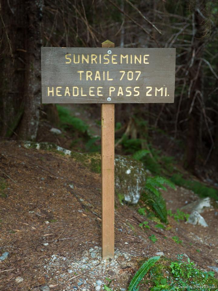 Sunrise Mine Trail Head -entry point towards Headlee Pass and Vesper Peak