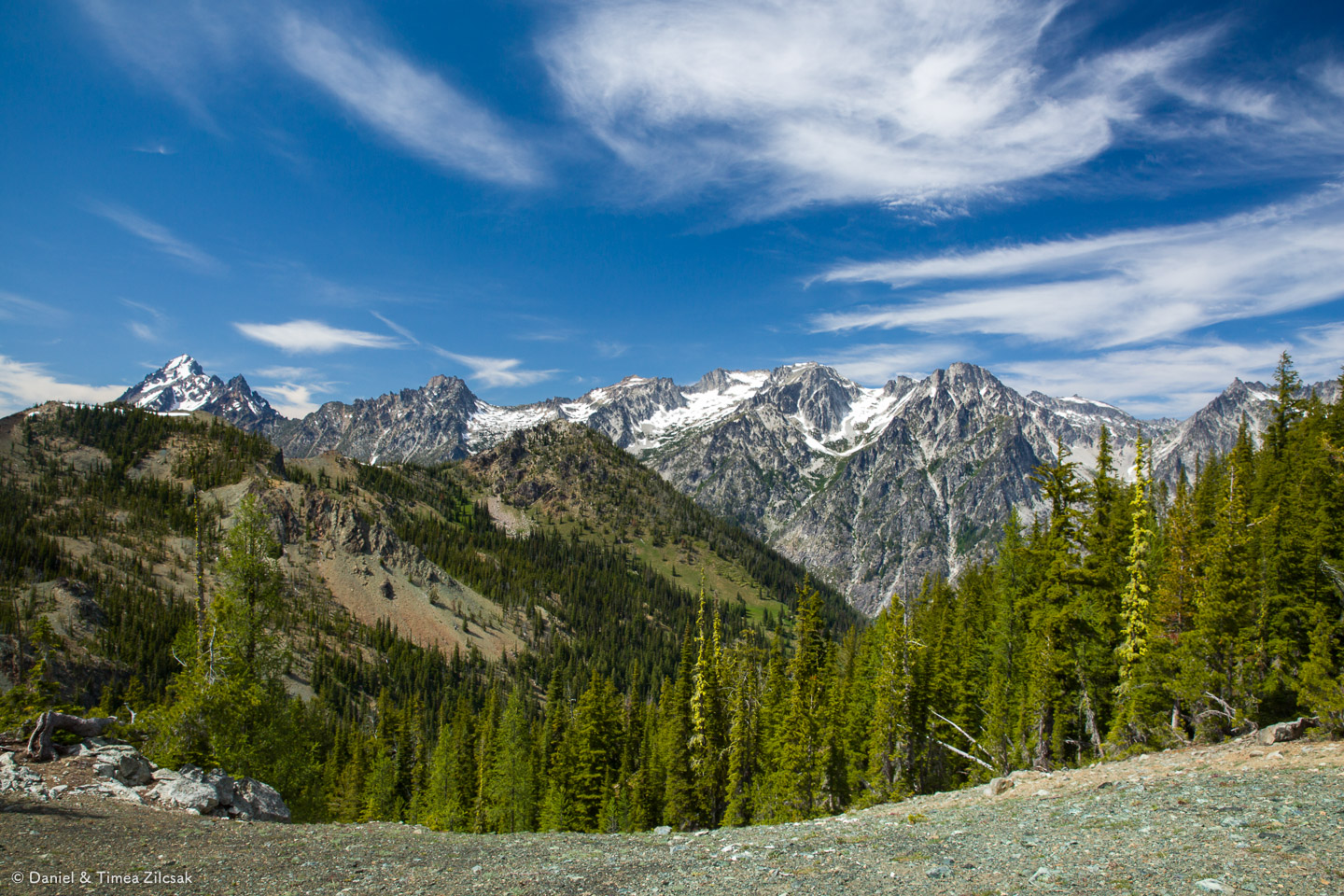 View of the Enchantments peaks in the Stuart Range from Navaho Pass, Little Annapurna is straight in the middle and Mount Stuart is the leftmost peak