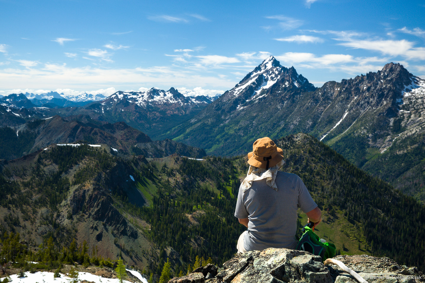 Views west from the summit of Navaho Peak, Mount Stuart is the pointy peak dominating the image