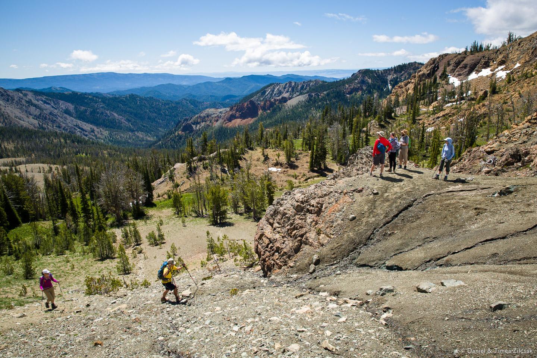 Scrambling off trail to gain the ridge