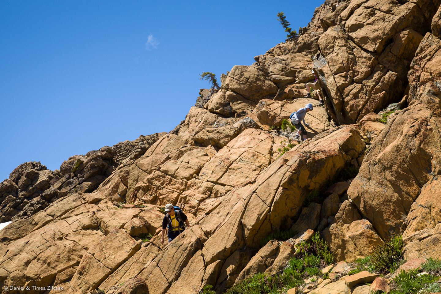 Scrambling down to our lunch spot