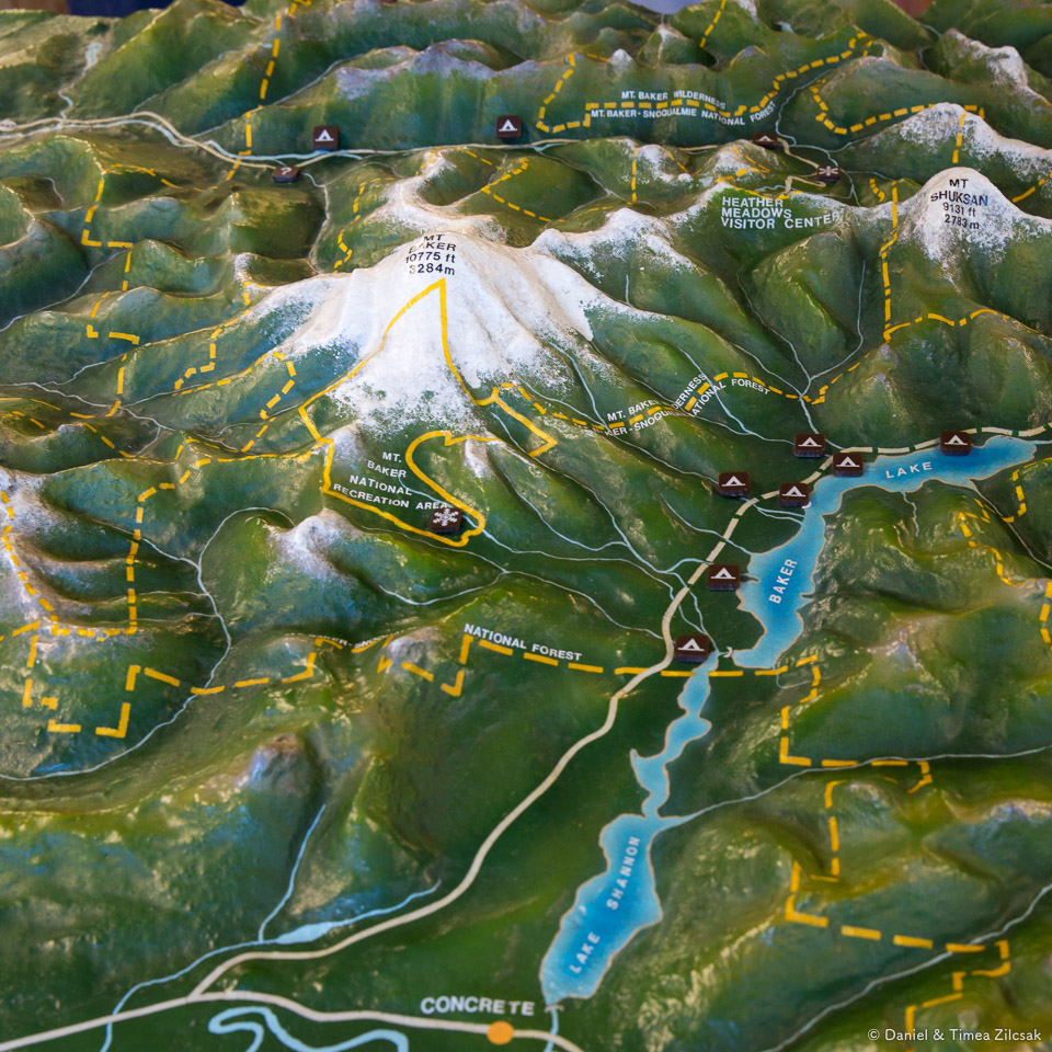 Raised-Relief Map of Mt Baker, Washington