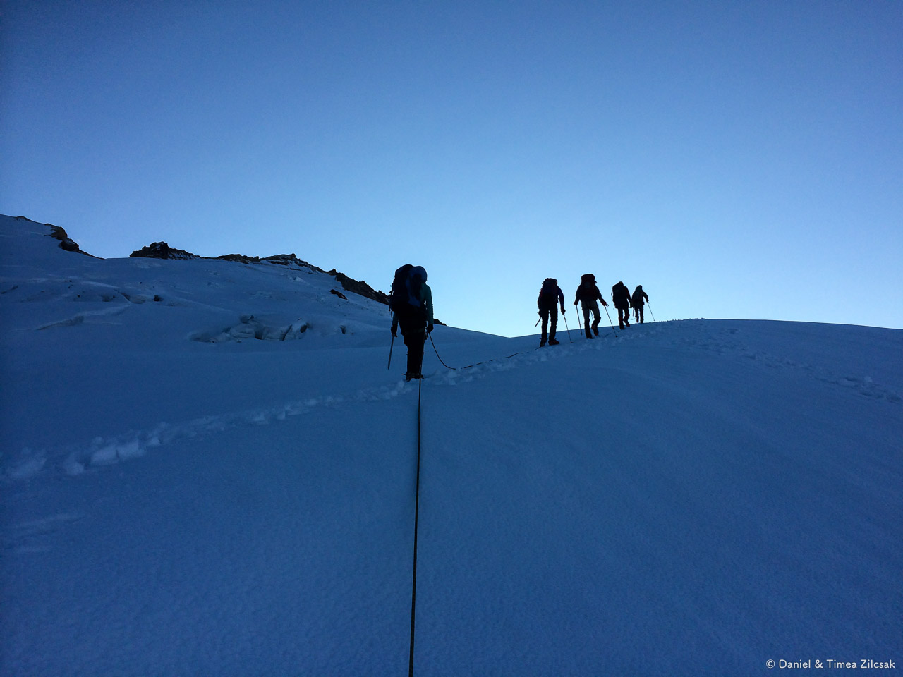 Our rope teams on the Easton Glacier, Mount Baker Climb