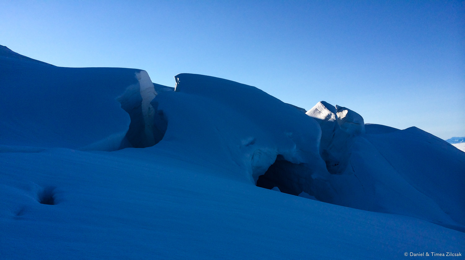 Crevasse on lower Easton Glacier, Mount Baker Climb