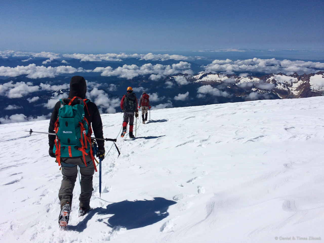 Team heading down the mountain - on the Baker summit plateau