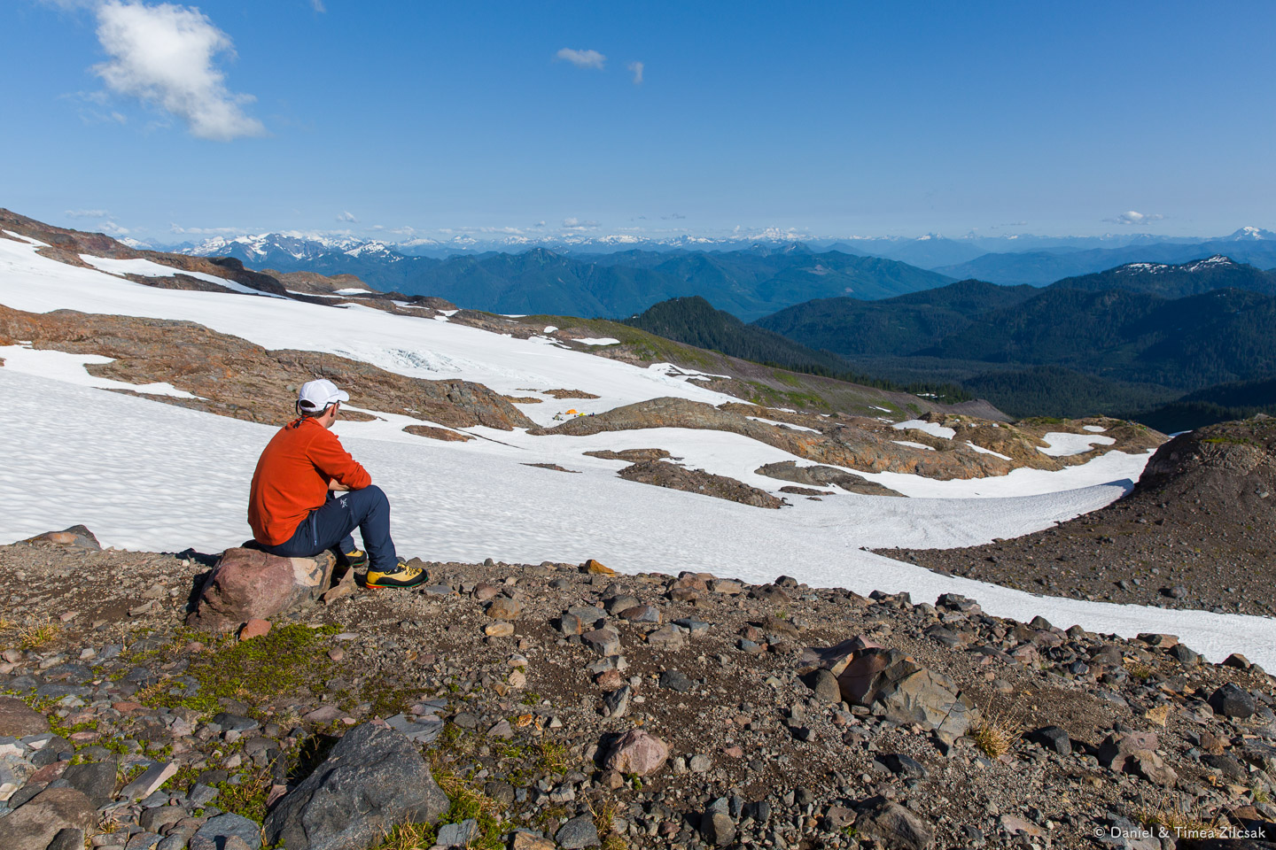 Exploring around base camp, Mount Baker: our camp on the other side of the snow field