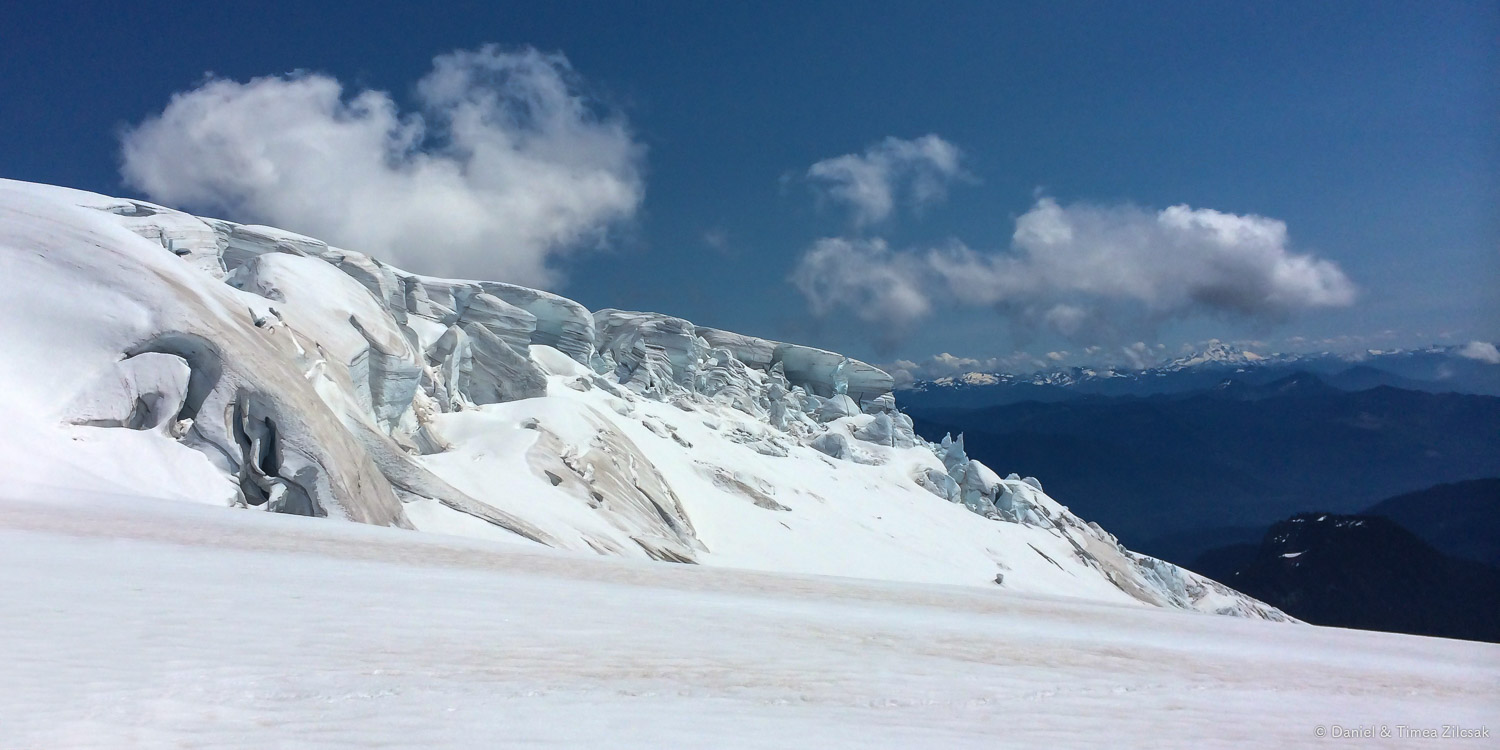 Close to the lower end of the Easton Glacier, Mount Baker. The ice is breaking up, more and more.