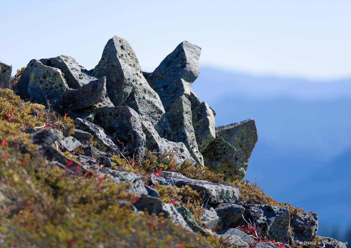 On the rocky summit of Silver Peak, Snoqualmie Pass