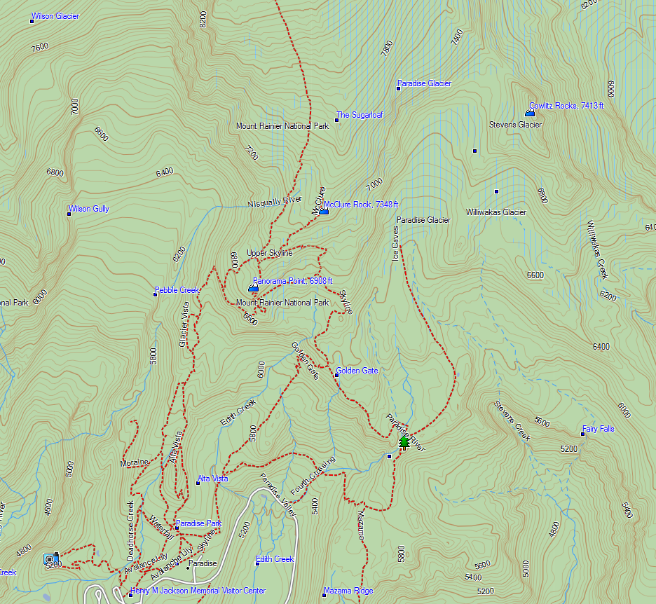 Map of Cowlitz Rocks (top-right), Paradise (lower-left)