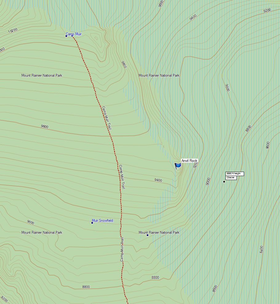 Map of Anvil Rock in relation to the Camp Muir boot path