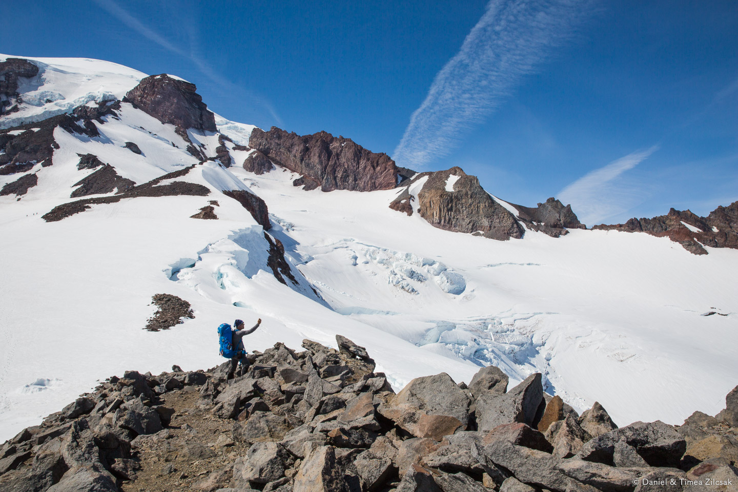 John taking a photo of the Cowlitz Glacier, to the east of Anvil Rock