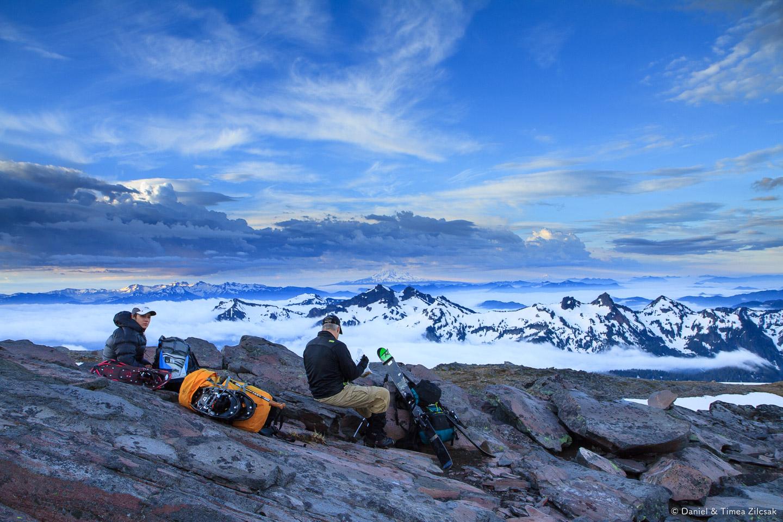 Timea and John resting just below McClure Rock ~7200 ft, near the beginning of the Muir snowfield,Mount Rainier National Park