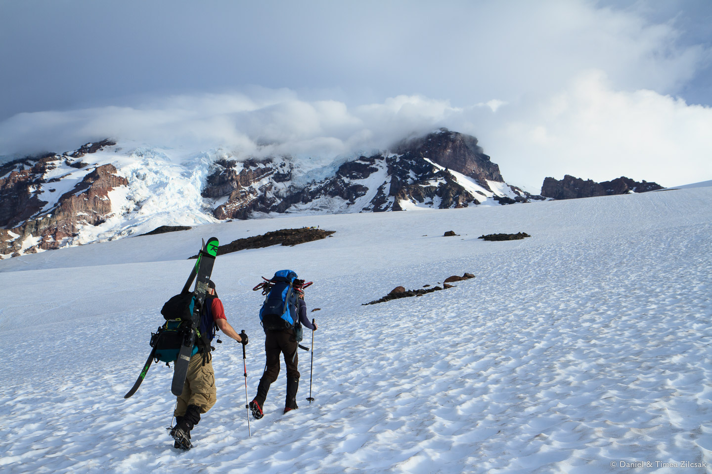On our way to Camp Muir, Mount Rainier always in front of us