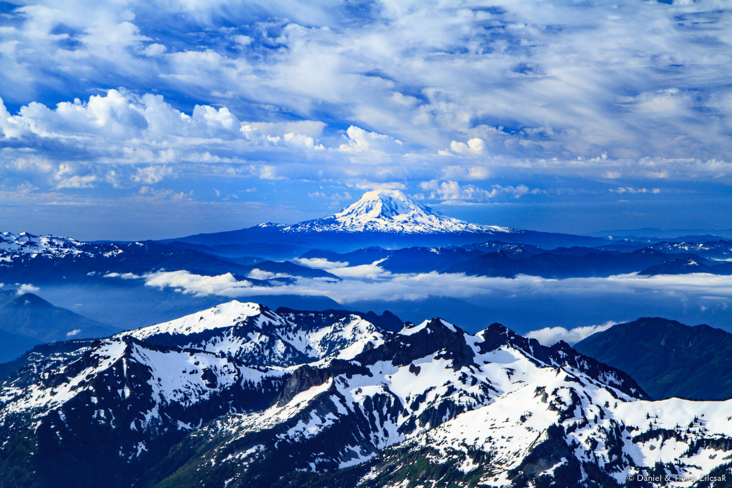 Mt. Adams 12,281 ft.and the Tatoosh range seen from 9000 ft. en route to Camp Muir, Mount Rainier National Park