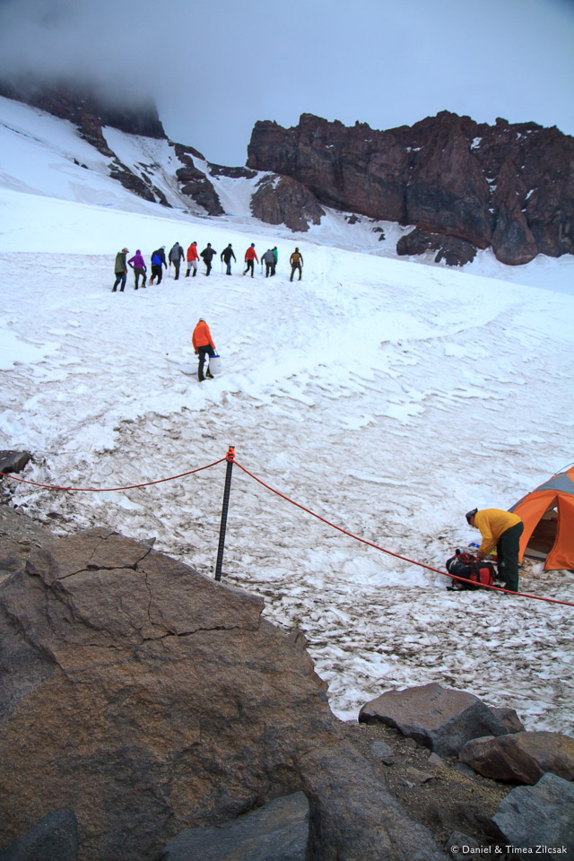 Camp Muir: the same group heading towards the dining tent, or more training (only their guide knows what was next)