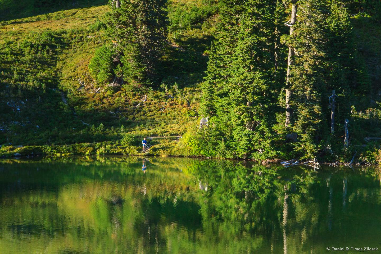 Fishing at Heart Lake, Backpacking the High Divide - Seven Lakes