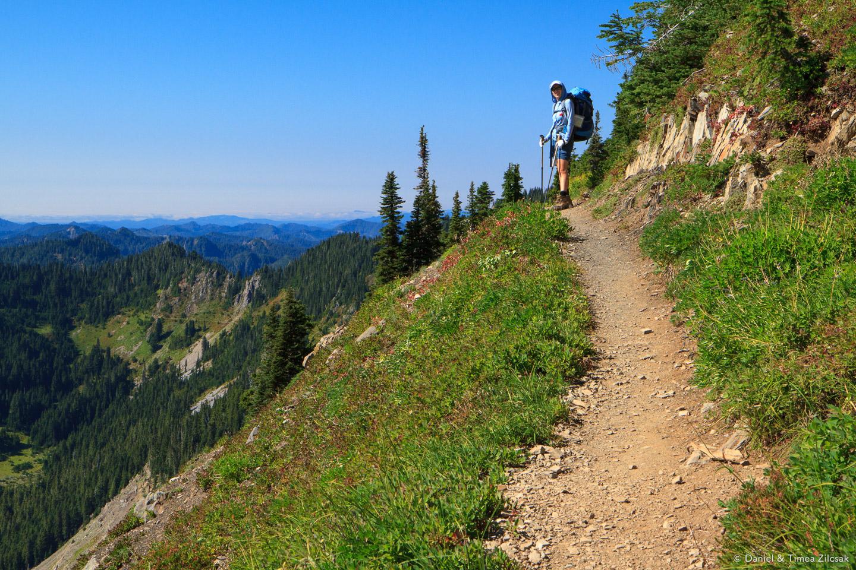 Timea on the west face of Bogachiel Peak, High Divide Trail