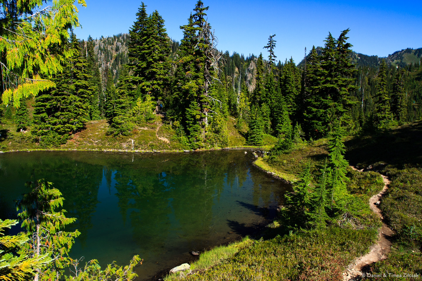Our secluded campsite at Clear Lake (across the lake outlet), Seven Lakes Basin