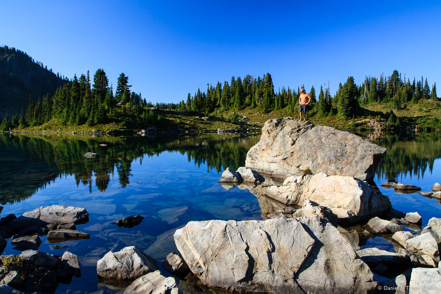 Finding a swim spot at Lunch Lake in the evening, Seven Lakes Ba
