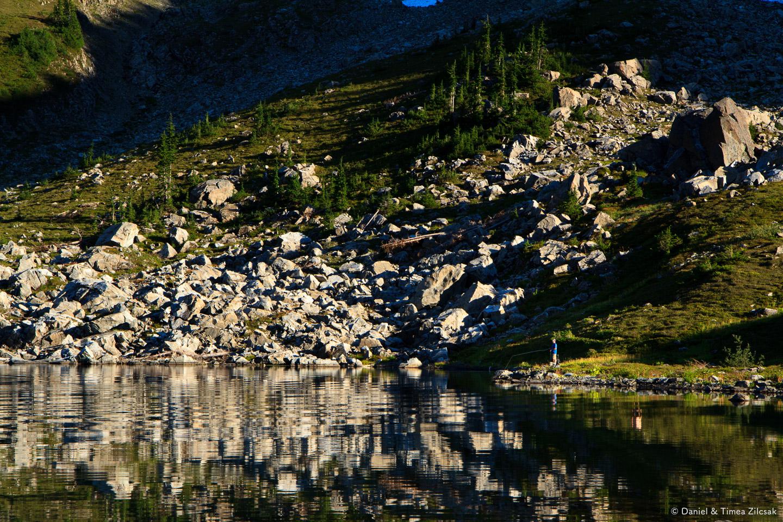 Fishing at Lunch Lake, Seven Lakes Basin
