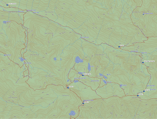 A map of the route we took on the High Divide/Seven Lakes Loop (for information only, don't use for travel)