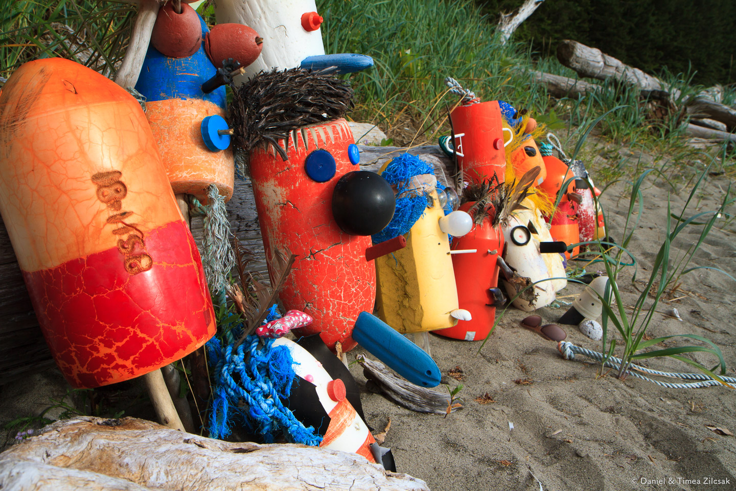 Friendly buoys at Toleak Point Camp, South Coast Wilderness Trail, Olympic National Park