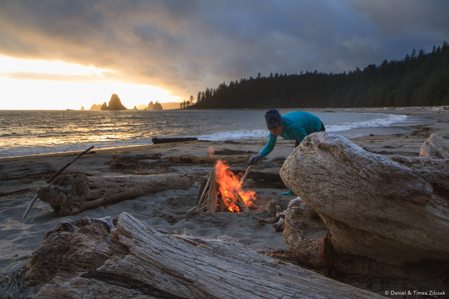 Building a fire and watching the sunset on the beach at Toleak Point, South Coast Wilderness Trail, Olympic Peninsula