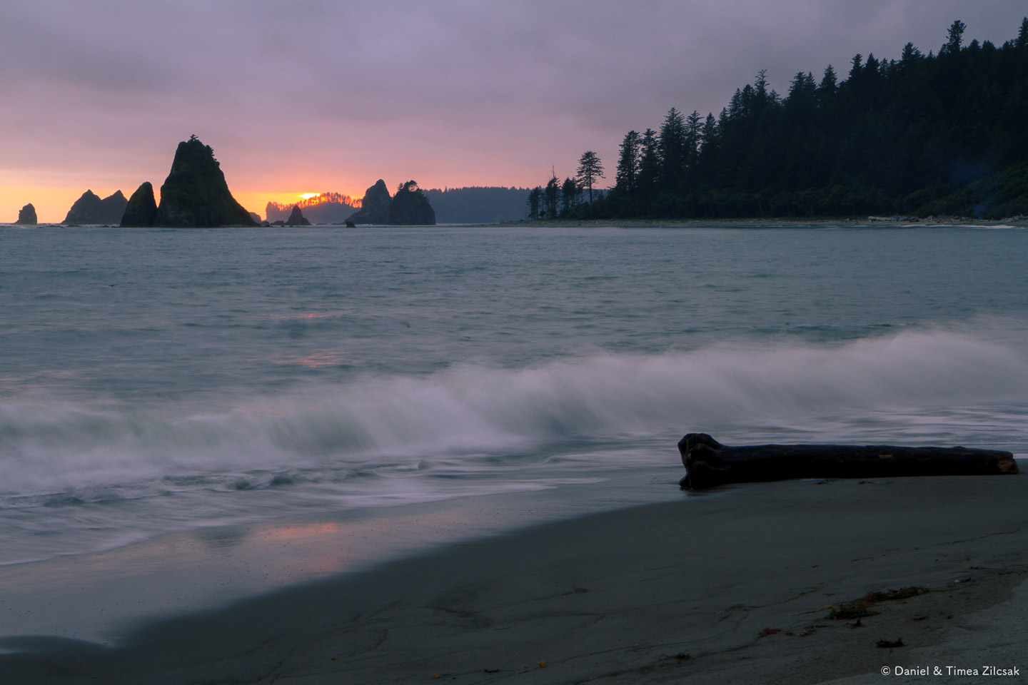 Sunset from our camp at Toleak Point while backpacking the South Coast Wilderness Trail, W
