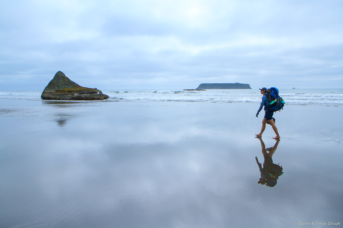 Barefoot on the beach backpacking the South Coast Wilderness Tra