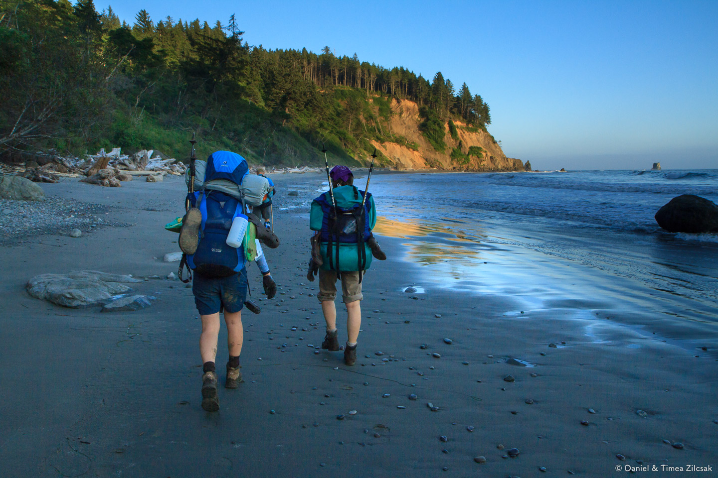 Hungry backpackers looking for a safe campsite at Jefferson Cove on the South Coast Wilderness Trail