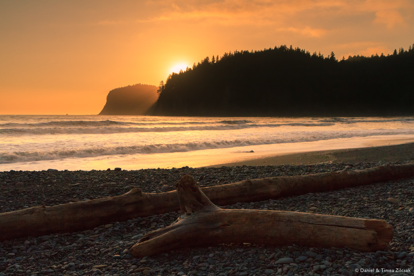 Sunset behind Hoh Head from our camp at Jefferson Cove on the South Coast Wilderness Trail, Olympic National Park