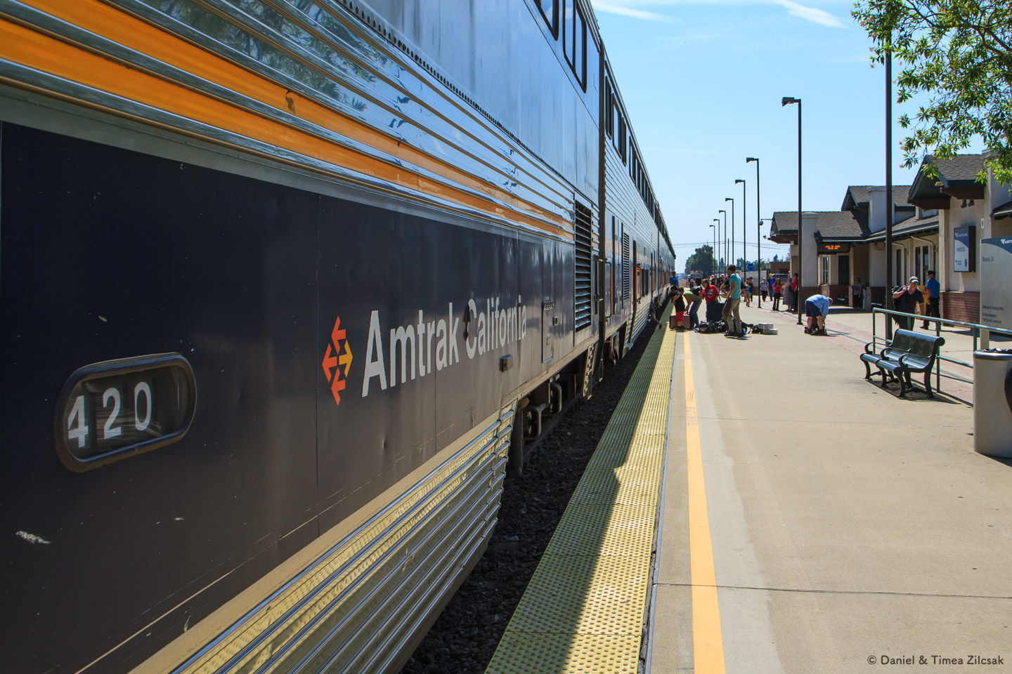 Riding Amtrak from Fresno to Merced, on our way to Yosemite Valley, California